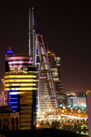 Bahrain World Trade Centre and Bahrain Financial Harbour at night photo