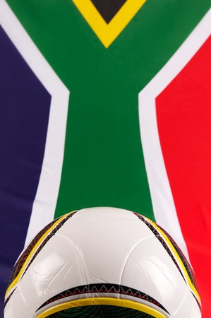 South Africa National flag and a soccer-ball photo