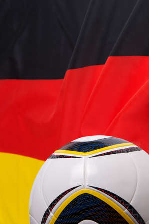 Photo of the flag of Germany and a soccer-ball photo