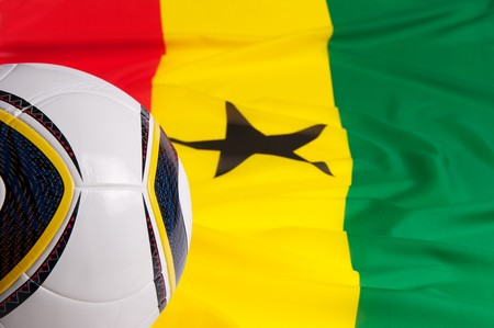 National flag of Ghana and soccer-ball photo