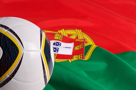 Portugal National Flag and a soccer-ball photo