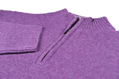 Closeup of purple sweater isolated on white photo