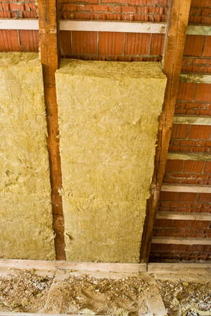 thermal insulation in a roof Stock Photo
