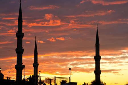 minarets and evening sky photo