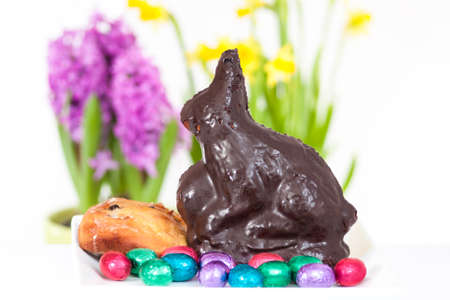 self-made Easter bunny with Easter eggs photo