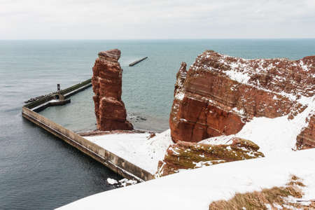 helgoland: Lange Anna on Helgoland in winter, North Sea, Germany