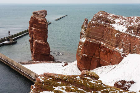 Lange Anna on Helgoland in winter, North Sea, Germany photo