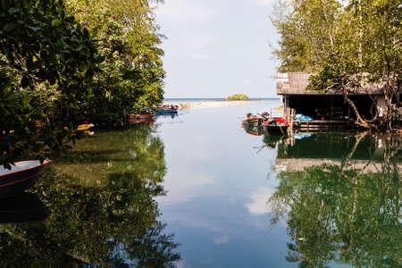 Mangroves and boates on Ko Kood, Thailand