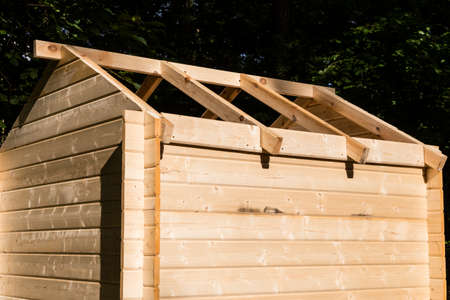 wooden hut: Construction of a wooden hut Stock Photo