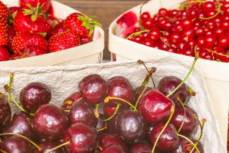 redcurrant: Cherry, Strawberry, Redcurrant Stock Photo