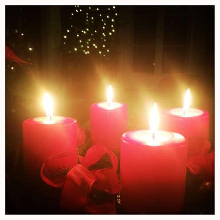 advent wreath: Advent wreath at fourth Advent Stock Photo