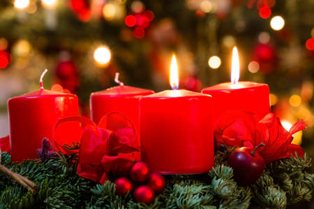 christmas candle: advent wreath for 2. advent