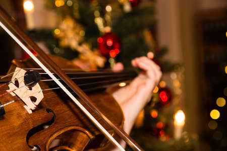 violin with christmas tree