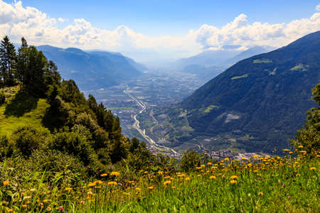 View on the valley of Adige at South Tyrol near Merano, Italy Stock Photo