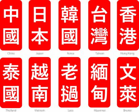 Chinese Words text vector  with meanings Stock Illustratie