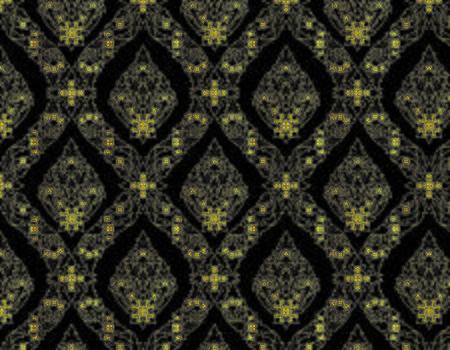 Thai Golden Pattern on Black Background Vector Illustration Design Art
