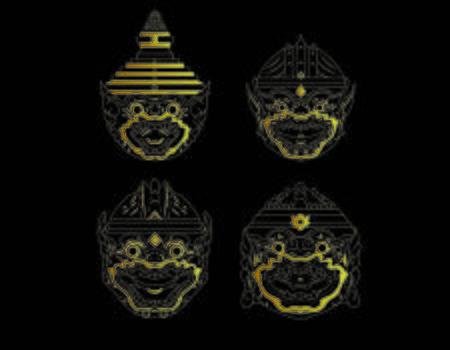 Hanuman monkey soldier of Thailand gold thai mask logo vector illustration art set design Çizim