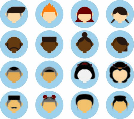 people in different races avatar isolated vector illustration set