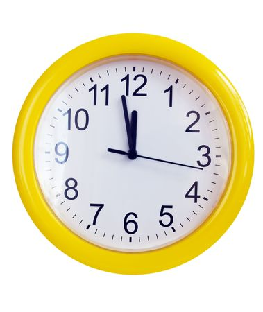 Yellow wall clock isolated on white photo