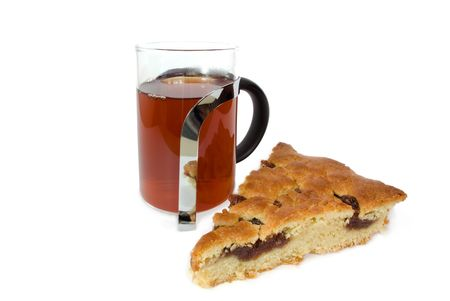 a cup of tea and cake with fruit jam Stock Photo - 4608374