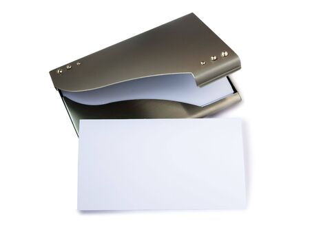 metalline: White card on metalic business card holders