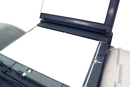 open office photocopy machine with blank page photo
