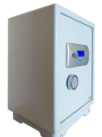 closed electronic digital safe isolated on white photo