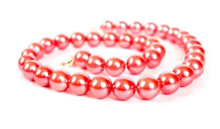 perle rose: rose collier de perles pos�es par spirale Banque d'images