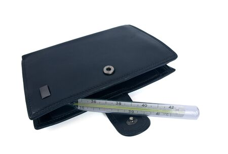 Wallet and the thermometer as the concept of the problem of personal budget photo