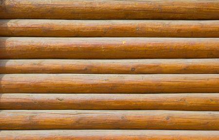 pine log wall of the house