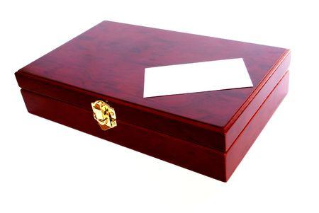 mahogany box with blank card isolated Stock Photo - 4904277