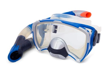 Blue snorkel and diving mask isolaned on white photo