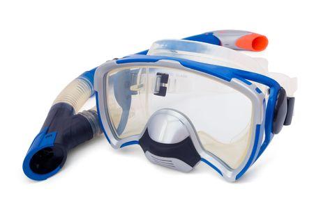 nurkować: Blue Snorkel i maski do nurkowania isolaned na białym Zdjęcie Seryjne