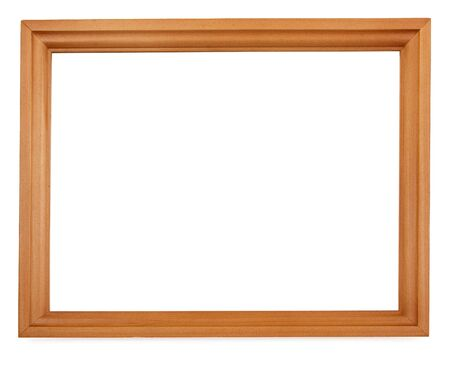 Empty wooden cedar picture frame isolated on white photo