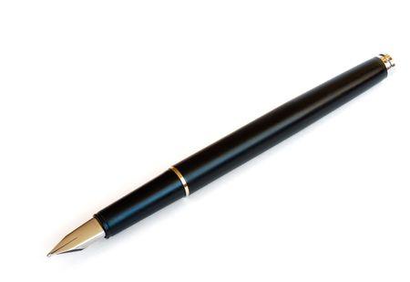 black fountain pen isolated on white photo