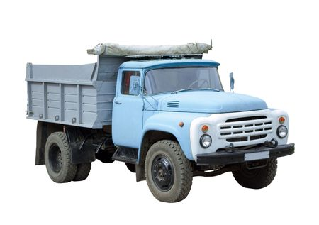 Old blue truck isolated on white photo