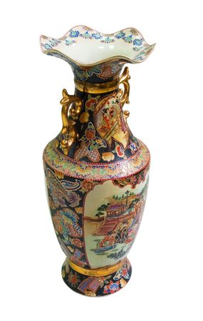 Chinese antique porcelain vase isolated on white photo