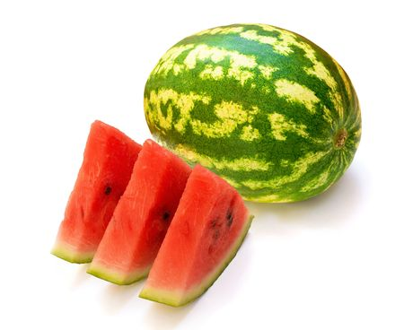 fresh water melon and three slices isolated on white photo