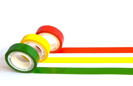 Lines of office colored sticky tape isolated on white Stock Photo - 5549830
