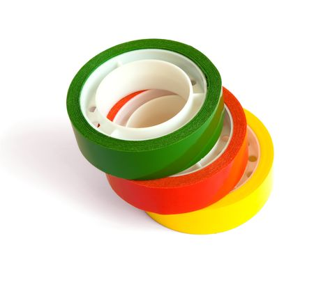 Three colored sticky tape isolated on white Stock Photo - 5581817