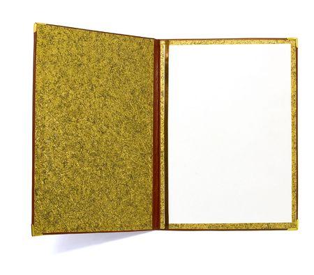folder: Abrir carpeta de cuero con la p�gina en blanco aisladas en blanco