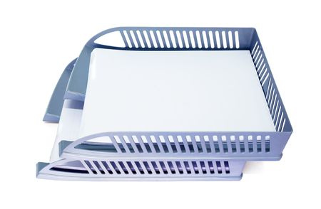 Grey plastic document tray isolated on white Stock Photo - 5709668
