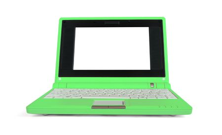 Green netbook with blank screen isolated on white Stock Photo - 5737517