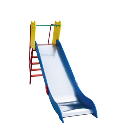 Colouful childrens sliding board isolated on white