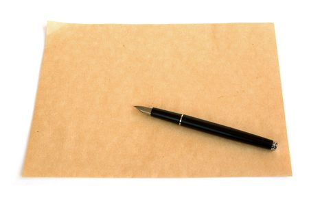fountain pen over an rough empty page of paper Stock Photo - 5912918