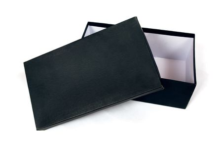 casing paper: Open cardboard black box isolated on white