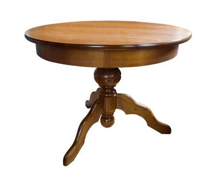 tabulka: starožitný dřevěný kulatý stůl na bílém Reklamní fotografie