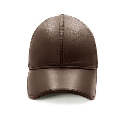 brown leather hat: Brown leather baseball cap - front view isolated on white Stock Photo