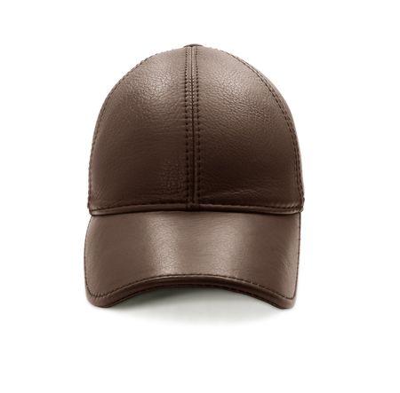 berretto: Cappellino di pelle marrone - front view isolata on white Archivio Fotografico