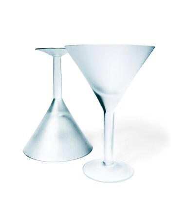 Two empty matte martini  glass isolated on white photo